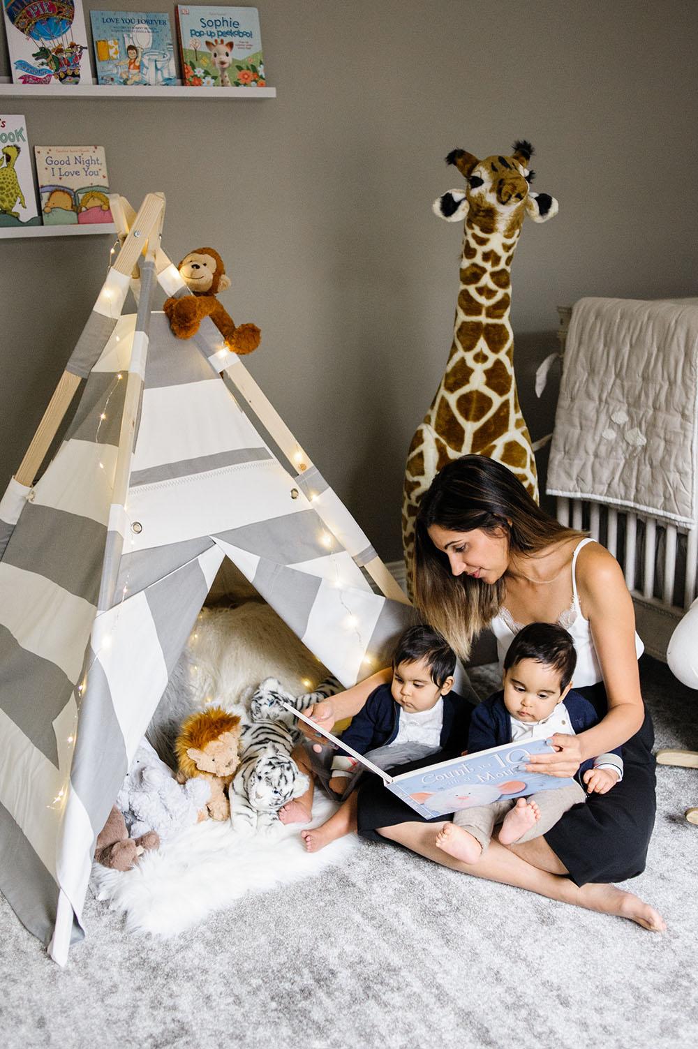 Tepee nursery, reading corner in nursery